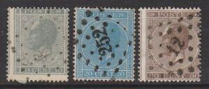 Belgium - 1866, 10c - 30c - Perf 15 - Used - SG 34/36