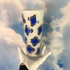 """Egizia for Rosenthal Art Glass Vase Collab White Blue Gold Satin 10"""" MCM Limited"""