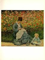 "1960 Vintage MONET ""MADAME MONET AND CHILD"" SEWING COLOR offset Lithograph"