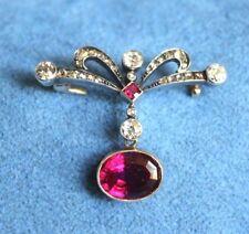Antique Hallmarked WV Diamond Pink Rubellite Tourmaline 14K Gold Nouveau Brooch