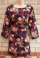 HEARTS & BOWS RED CHECK BLUE PINK FLORAL ROSES TUBE BODYCON SMOCK DRESS 12 M