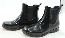 MK Michael Kors Black Rubber Rain Boots Ankle Boots Womens Sz 6 Silver MK Charm
