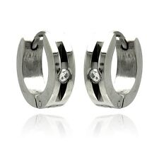 Stainless Steel Huggie Hoop Earrings w/ CZ Stone