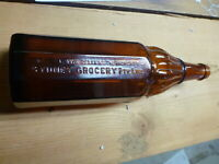 ANTIQUE RARE SYDNEY GROCERY Ltd BROWN VINEGAR BOTTLE