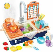 Kids Pretend Play Kitchen Sink Toys with Play Cooking Stove, Pot & Pan Utensils