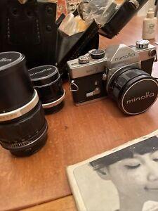 VTG MINOLTA SR-7 35mm SLR Camera 3 ROKKOR PF Lenses 58mm 135mm Case Extras JAPAN