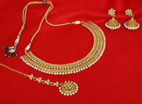 South Indian Ethnic Gold Plated Pearl Necklace Earring Set Bollywood Jewelry