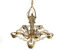 Antique Art Deco Chandelier vtg Hanging Light Ceiling Fixture 1920s cast 5 lamp