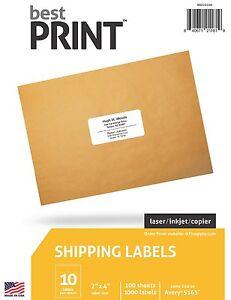 "10,000 Premium Laser/Inkjet Address Labels 2 x 4"" 10 Per Page, 10 packs of 1,000"