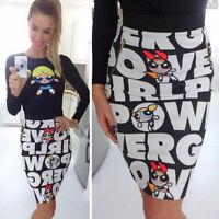 femme taille haute moulant Midi jupe lettre imprimé fine extensible robe crayon