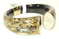ALEXIS BITTAR 10K Gold plate Lucite Hinged Cuff BRACELET w/Pouch