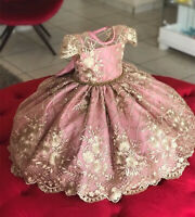 Baby Girl Bowknot Beaded Princess Tutu Dress Tutu Birthday Party Formal Gown