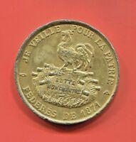 """RARE GOLD PLATED MÉDAILLE """"JE VEILLE POUR LA PATRIE"""" DES FÉDÉRÉS DE 1871, F.T."""