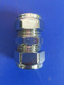 15mm Chrome Compression Straight Coupler.   #325