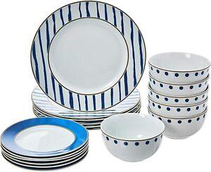 18-Piece Kitchen Dinnerware Set, Plates, Dishes, Bowls, Service for 6, Blue