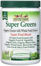 Super Green Drink Mix, Natural Healthy Whole Food Blend Of Fruits & Vegetables