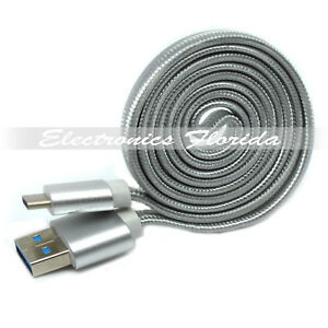 1FT Flat Nylon Braided USB-Type-C Data Sync Charger Charging Cable SILVER