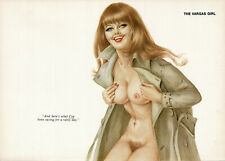 Vintage Alberto Vargas Girl Brunette Female Nude Pin Up Art 2-Page Print e
