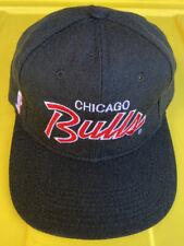 Vintage 90s Chicago Bulls Sports Specialties Script SnapBack Hat Cap Black