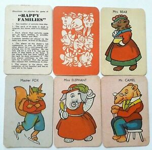 VINTAGE PLAYING CARDS CARD GAME HAPPY FAMILIES 1945 36 CARDS RULES BOX FREEPOST