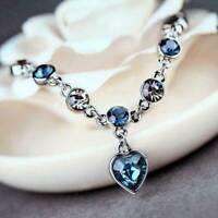 Women Ocean Heart Austrian Crystal Chain Jewelry Bracelet Bangle Adjustable Gift