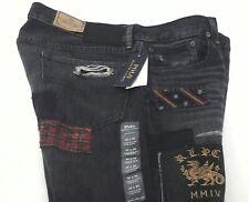 Polo RALPH LAUREN Jeans Varick Slim Straight Black Rip & Repair Sewn Men's New *