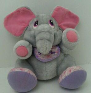 "Tonka Zoo Babies Elephant Tonka Bib Gray Vintage 1980s 9"" Plush Stuffed Animal"