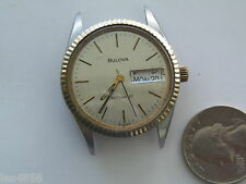 MEN'S RETRO 2 TONE,SS,WATER RESISTANT, DAY,DATE, AUTOMATIC BULOVA WATCH