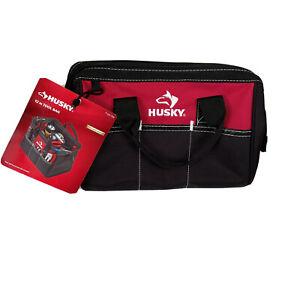 "Husky 12"" Tool Bag 600 Denier Water Resistant 3 External Pockets Dual Zip Main"