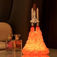 3D Print Space Shuttle Rocket Night Light LED Table Desk Lamp Room Decor Gift