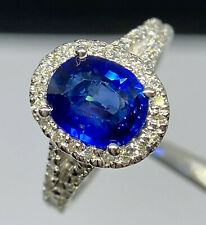 3.2 CT Ceylon Royal Blue Sapphire & Diamond Ring 14K White Gold Halo Split Shank