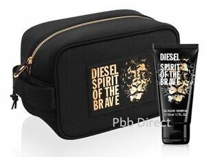 DIESEL MENS BRAVE TOILETRY SHAVE POUCH SHOWER GEL WASH BAG 2PC SET FOR HIM GIFT