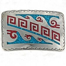 Silver Belt Buckle Turquoise Coral Hopi Patterns Jewelry
