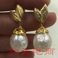 13-14mm White Baroque Pearl Earrings 18K Natural South Sea Leaf Ear Stud Gift