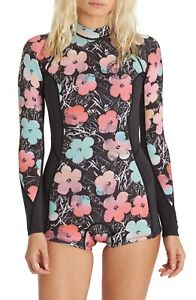 NWT 145$ Billabong Warhol Spring Fever Springsuit Wetsuit Floral Long Sleeves