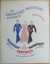 Toothpaste Advertising Sign - 'Dentifrice Dentoxyl' 1930s Art Deco French, Board