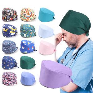 Round for Home Pure Colour Surgical Scrub Cap Bouffant Hat Doctor Nurse Caps
