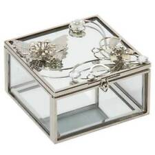 Butterfly & Flowers Silver Mirror Glass & Wire Trinket Box