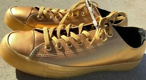 Mens Converse All Star Chuck Taylor OX Leather Metallic Gold 153107C