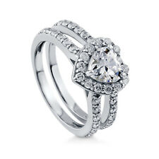 1.76 Ct Heart Cut Diamond Engagement Ring 14K Real White Gold Rings Size N O P