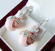 SALE ! GORGEOUS MADE OF STERLING SILVER 925  EARRINGS with GENUINE CORAL ENAMEL