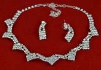 DIAMANTE NECKLACE & EARRINGS JEWELLERY SET WEDDINGS PROM BRIDAL PARTY NEW UK