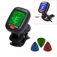 Black Chromatic LCD Clip-On Electric Tuner for Bass, Guitar, Ukulele, and Violin