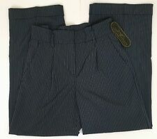 Diane Gilman 16T Dress Pants Blue Gray Stripe High Waist Wide Leg Trousers m