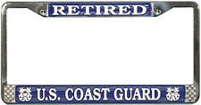 US COAST GUARD RETIRED METAL LICENSE PLATE FRAME - MADE IN THE USA !!