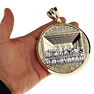Huge Last Supper Pendant Round 2-Tone Gold/Silver Hip Hop Charm Medallion