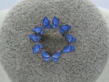 Volmer Bahner Denmark Sterling Silver Enamel Brooch Ring of Blue Butterflies