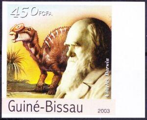 Charles Darwin, Prehistoric Animals, Dinosaurs, Guinea Bissau 2003 MNH Imperf  -