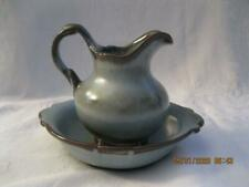 Frankoma Pottery Small Blue & Brown Wash Basin Pitcher #40 A and Bowl #40 B
