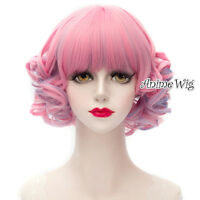 Lolita Purple Mixed Pink Curly 30cm Heat Resistant Women Anime Cosplay Hair Wig